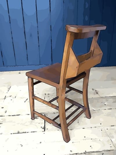 wooden handmade chair for church