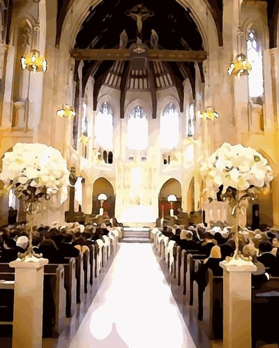Lovely church altar wedding decoration church pews church wedding pictures junglespirit Gallery