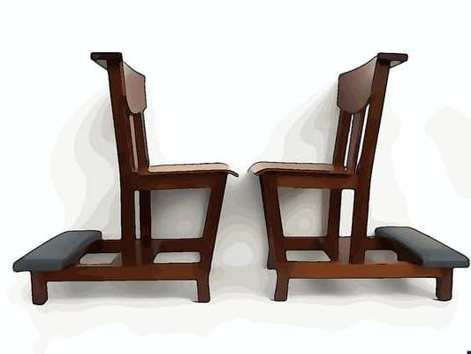 minimalist teak church chairs